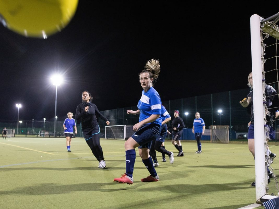 Women playing Football at grassroots level