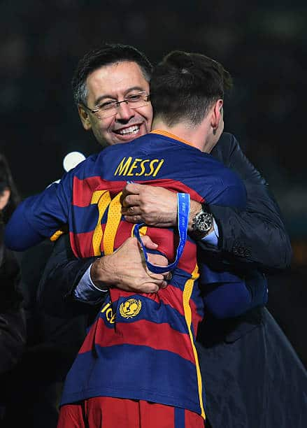 Former Barcelona president Bartomeu with Lionel Messi