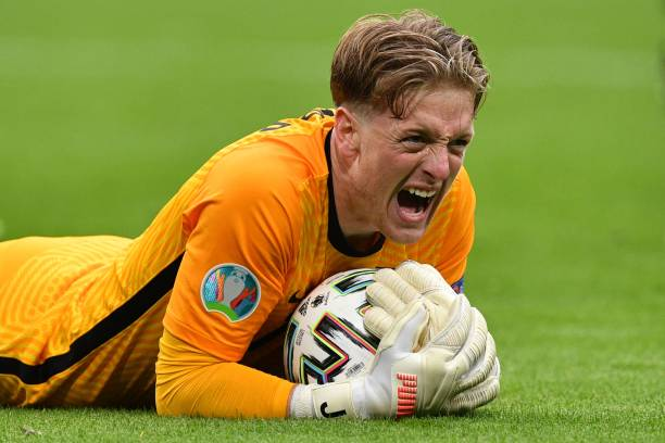 Jordan Pickford has the gloves in our Euro 2020 team of the tournament! (Photo by JUSTIN TALLIS / POOL / AFP) (Photo by JUSTIN TALLIS/POOL/AFP via Getty Images)