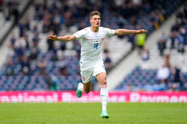 GLASGOW, SCOTLAND - JUNE 14: Patrik Schick of Czech Republic celebrates after scoring their side's second goal during the UEFA Euro 2020 Championship Group D match between Scotland v Czech Republic at Hampden Park on June 14, 2021 in Glasgow, Scotland. (Photo by Petr Josek - Pool/Getty Images)