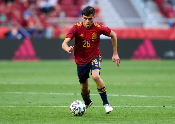 MADRID, SPAIN - JUNE 04: Pedro Gonzalez 'Pedri' of Spain in action during the international friendly match between Spain and Portugal at Estadio Wanda Metropolitano on June 04, 2021 in Madrid, Spain. (Photo by Angel Martinez/Getty Images)