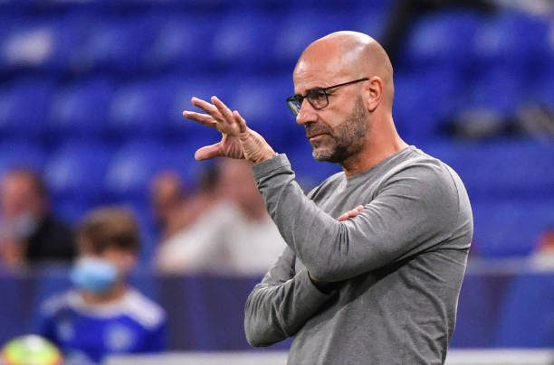 Lyon's Dutch head coach Peter Bosz gestures during the friendly football match between Olympique Lyonnais and VfL Wolfsburg at the Groupama Stadium in Decines-Charpieu, near Lyon, on July 17, 2021. (Photo by PHILIPPE DESMAZES / AFP) (Photo by PHILIPPE DESMAZES/AFP via Getty Images)