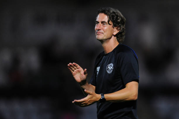 BOREHAMWOOD, ENGLAND - JULY 20: Thomas Frank, Manager of Brentford shows appreciation to the fans at full-time after the Pre-Season Friendly match between Boreham Wood and Brentford at Meadow Park on July 20, 2021 in Borehamwood, England. (Photo by Alex Burstow/Getty Images)
