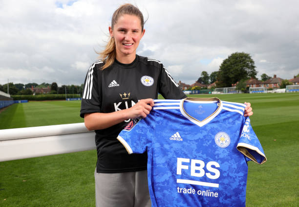 LEICESTER, ENGLAND - JULY 27:  Leicester City's WSL team unveil new signing Abbie McManus at Belvoir Drive Training Complex on July 27, 2021 in Leicester, United Kingdom.  (Photo by Plumb Images/Leicester City FC via Getty Images)