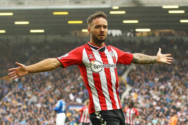 LIVERPOOL, ENGLAND - AUGUST 14: Adam Armstrong of Southampton celebrates scoring the opening goal during the Premier League match between Everton and Southampton at Goodison Park on August 14, 2021 in Liverpool, England. An interesting window for the Saints! (Photo by Chris Brunskill/Getty Images)