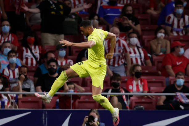 MADRID, SPAIN - AUGUST 29: Arnaut Danjuma of Villarreal celebrates 1-2  during the La Liga Santander  match between Atletico Madrid v Villarreal at the Estadio Wanda Metropolitano on August 29, 2021 in Madrid Spain. One of my favourites moves of the whole summer window! (Photo by David S. Bustamante/Soccrates/Getty Images)