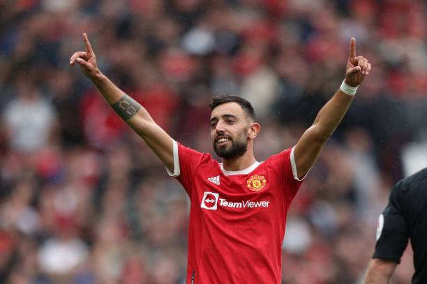 Man United's Bruno Fernandes makes the TOTW (Photo by ADRIAN DENNIS/AFP via Getty Images)