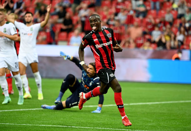 Leverkusen winger Moussa Diaby starred against Gladbach and is in the TOTW (Photo by INA FASSBENDER/AFP via Getty Images)