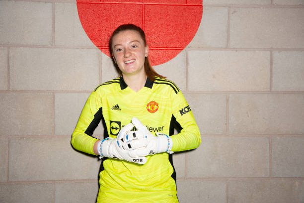 MANCHESTER, ENGLAND - JULY 23:  New signing Sophie Baggaley of Manchester United's WSL side is unveiled at Carrington Training Ground on July 23, 2021 in Manchester, England. (Photo by Manchester United/Manchester United via Getty Images)