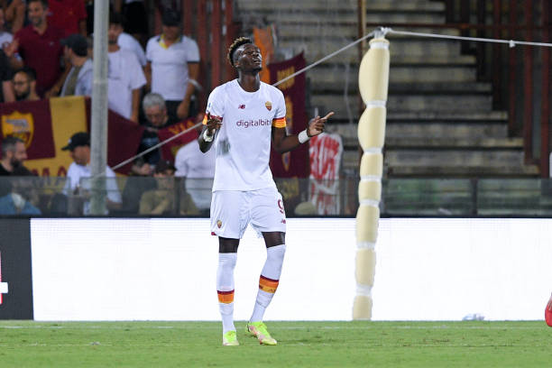 Tammy Abraham of AS Roma celebrates after scoring third goal during the Serie A match between US Salernitana 1919 and AS Roma at Stadio Arechi, Salerno, Italy on 29 August 2021. A great late move in the window for all parties! (Photo by Giuseppe Maffia/NurPhoto via Getty Images)