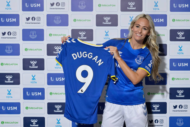 HALEWOOD, ENGLAND - JULY 6 (EXCLUSIVE COVERAGE)  Tony Duggan poses for a photo after signing for Everton Women on Everton on July 6 2021 in Halewood, England. Return to WSL! (Photo by Tony McArdle/Everton FC via Getty Images)