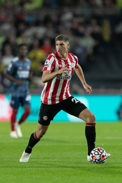 Vitaly Janelt of Brentford in action during the Premier League match between Brentford and Arsenal at the Brentford Community Stadium, Brentford on Friday 13th August 2021. Janelt makes the TOTW Photo by Juan Gasperini/MI News/NurPhoto via Getty Images)