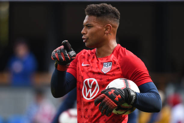 SAN JOSE, CA - FEBRUARY 02: USA goalkeeper Zack Steffen (1) before the international friendly match between USA and Costa Rica at Avaya Stadium on February 2, 2019 in San Jose CA. He's in the World Cup qualifying squad! (Photo by Cody Glenn/Icon Sportswire via Getty Images)
