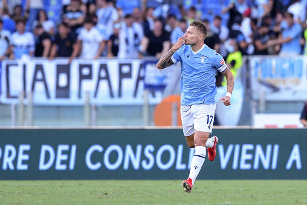 Ciro Immobile of SS Lazio celebrates after scoring first goal during the Serie A match between SS Lazio and Spezia Calcio at Stadio Olimpico, Rome, Italy on 28 August 2021. Juventus (Photo by Giuseppe Maffia/NurPhoto via Getty Images)