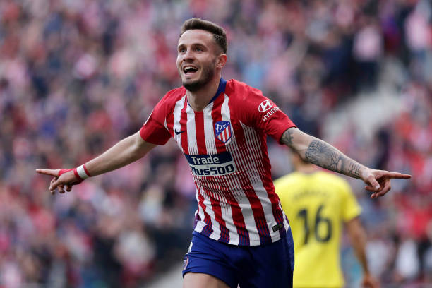 MADRID, SPAIN - FEBRUARY 24:  Saul Niguez of Atletico Madrid celebrates after scoring his team's second goal during the La Liga match between  Club Atletico de Madrid and Villarreal CF at Wanda Metropolitano on February 24, 2019 in Madrid, Spain.