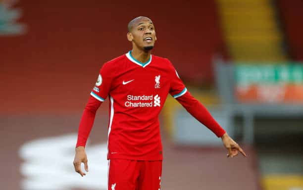 LIVERPOOL, ENGLAND - SEPTEMBER 12: Fabinho of Liverpool reacts during the Premier League match between Liverpool and Leeds United at Anfield on September 12, 2020 in Liverpool, England.