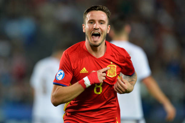 KRAKOW, POLAND - JUNE 27:  Saul Niguez of Spain celebrates scoring his sides first goal during the UEFA European Under-21 Championship Semi Final match between Spain and Italy at Krakow Stadium on June 27, 2017 in Krakow, Poland.